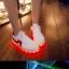 รองเท้ามีไฟ รองเท้า LED สีขาว มีแถบสีแดง เปลี่ยนสีได้ 11 สี สินค้าพรีออเดอร์ thumbnail 2