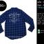 C1148 เสื้อลายสก๊อต ผู้ชาย สีน้ำเงิน แนว Biker thumbnail 1