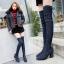 [มี2สี] รองเท้าบูทยาวผู้หญิงส้นสูง ผ้ายีนส์ หัวแหลม ส้นใหญ่ ผูกเชือกด้านหลัง ทรงสวย แฟชั่นสไตล์เกาหลี ส้นสูง 3 นิ้ว thumbnail 1