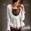 K507 *หมดค่ะ*เสื้อคลุม สีขาว ผ้ายืดคอตต้อน รอบคอเสื้อ แต่งผ้าลูกไ thumbnail 1