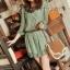 K704 *หมดค่ะ* เดรสสั้นหรือเสื้อตัวยาวสีเขียว ผ้าชีฟองลายแมว thumbnail 1