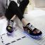 รองเท้ามีไฟ รองเท้า LED สีดำ มีลายเพ้นท์หลายสี เปลี่ยนสีได้ 11 สี สินค้าพรีออเดอร์ thumbnail 3