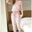 K1066 หมดค่ะ จั้มสูทลายดอกเดซี่สีชมพูสวยๆจ้า+ผ้าคาดเอว thumbnail 1