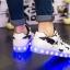 รองเท้ามีไฟ รองเท้า LED สีขาว มีลายรูปดาวสีดำ เปลี่ยนสีได้ 11 สี สินค้าพรีออเดอร์ thumbnail 4