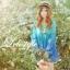 K602 *หมดค่ะ*เสื้อผ้าชีฟองลายดอกไม้ สีฟ้าไล่ระดับสีลงมา คอกลม thumbnail 1