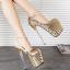 [มี2สี] รองเท้าส้นสูง แฟชั่นหนัง PU แต่งเลื่อม ส้นแก้วคริสตัล ดีไซน์ไล่ระดับสี มีสายรัดส้น thumbnail 1