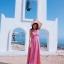 [พร้อมส่ง] เดรสสายเดี่ยว สีชมพู กระโปรงยาวพริ้วสวย ผูกโบว์ด้านหลัง ทรงสวยสไตล์โบฮีเมียน thumbnail 2