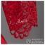 sd1072 ชุดงานหมั้น ชุดยกน้ำชา สีแดง แขนสามส่วน ผ้าลูกไม้ซีทรู กระโปรงทวิสต์ สวย หวาน หรู น่ารักมากๆ thumbnail 5