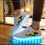 รองเท้ามีไฟ รองเท้า LED สีขาว มีแถบสีเหลืองดำ เปลี่ยนสีได้ 11 สี สินค้าพรีออเดอร์ thumbnail 1