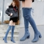 [มี2สี] รองเท้าบูทยาวผู้หญิงส้นสูง ผ้ายีนส์ หัวแหลม ส้นใหญ่ ผูกเชือกด้านหลัง ทรงสวย แฟชั่นสไตล์เกาหลี ส้นสูง 3 นิ้ว thumbnail 2