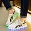 รองเท้ามีไฟ รองเท้า LED สีขาว มีแถบสีดำ2เส้น เปลี่ยนสีได้ 11 สี สินค้าพรีออเดอร์ thumbnail 5