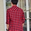 เสื้อลายสก๊อตผู้ชายสีแดง Western กระดุมมุก thumbnail 4