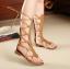 [มี2สี] รองเท้าแตะส้นแบน แบบหนีบ หนังpu พันรอบขา ซิปด้านหลัง แฟชั่นสไตล์ยุโรป thumbnail 2