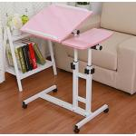 Pre-order โต๊ะทำงาน โต๊ะวางคอมพิวเตอร์ โต๊ะวางแล็ปท้อป ขาคู่ แบบมัลติฟังก์ชั่น ปรับระดับได มีล้อเลื่อน สีชมพู