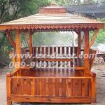 ศาลาบาหลี เสาเหลี่ยมและตรง หลังคาสองชั้น มีพนักพิงและม้านั่งสามด้าน ไม้เนื้อแข็งรวม ศาลาไม้สำหรับนั่งเล่นในสวน
