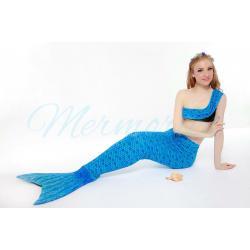 Blue Scale Mermaid Tail Set เสื้อแบบไหล่เฉียงครึ่งตัว