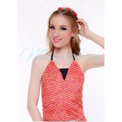เสื้อแบบผูกคอ Orange Scale