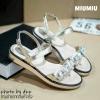 พร้อมส่ง : รองเท้าแตะเสริมส้น MIUMIU (สีทอง)