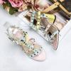 รองเท้า Valentino pumps rainbow color t-strap rockstud (สีชมพู)