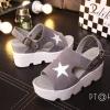 รองเท้าส้นเตารีดสไตล์แฟชั่นเกาหลีลายดาว (สีเทา)