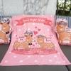 ผ้าห่มเด็ก ใส่ประวัติแรกเกิดลายกวางคู่ สีชมพู / Couple Deer - Pink
