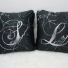 หมอนอิงสั่งทำใส่ชื่อ ลาย Black Marble - Calligraphy - Silver