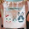 ถุงผ้าซาติน ลาย Rabbit Family สีชมพู