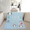 ผ้าห่มเด็ก ใส่ประวัติแรกเกิด ลายเพนกวิ้น Penguin - Blue