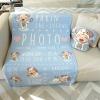 ผ้าห่มเด็ก ใส่ประวัติแรกเกิด ลายปีจอ - Puppy - Indigo ไซส์ใหญ่ ขนาด 100x150cm