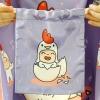 ถุงผ้าซาติน ลาย Kook Kai - Purple