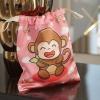 ถุงผ้าซาติน ลายลิงสีชมพู - Monkey - Pink
