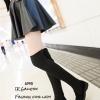 รองเท้าบูทยาวตัดต่อสไตล์ถุงเท้า (สีดำ)