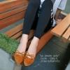 รองเท้าคัทชูหัวแหลมแต่งโบว์ (สีน้ำตาล)