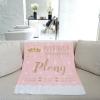ผ้าห่มเด็ก ใส่ประวัติแรกเกิด ลายเจ้าหญิง สีชมพู / Princess - Pink
