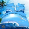 (Pre-order) ชุดผ้าปูที่นอน ปลอกหมอน ปลอกผ้าห่ม ผ้าคลุมเตียง ผ้าฝ้ายพิมพ์ 3D รูปนกนางนวล สีน้ำทะเล