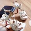พร้อมส่ง : รองเท้าส้นเข็ม YSL Tribute สีครีม (รุ่นหนังแก้ว)