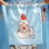 ถุงผ้าซาติน ลาย Kook Kai - Blue