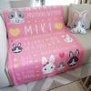 ผ้าห่ม ใส่ประวัติแรกเกิด ลายกระต่าย สีชมพู ไซส์ใหญ่ 100x150cm / Rabbit - Pink