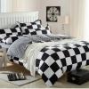 (Pre-order) ชุดผ้าปูที่นอน ปลอกหมอน ปลอกผ้าห่ม ผ้าคลุมเตียง ผ้าโพลีเอสเตอร์พิมพ์ลายตาหมากรุกขาว-ดำ
