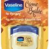 **พร้อมส่ง**Vaseline Lip Therapy for Deliciously Kissable Lips Creme Brulee ขนาดพกพา 7 g. ลิปบาล์มวาสลีนไซส์มินิ กลิ่นหอมหวานดุจขนมแสนอร่อย บำรุงเรียวปากให้เนียนนุ่มชุ่มชื่นอวบอิ่มสุขภาพดี ปรนนิบัติผิวริมฝีปากด้วยปิโตรเลียมเจลลี่(ปิโตรทั่ม) และ โกโก้