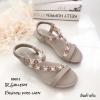 รองเท้าแตะเสริมส้นแต่งดอกไม้ (สีครีม)