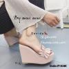รองเท้าส้นเตารีดแฟชั่นห่อพียู (สีชมพู)