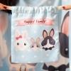 ถุงผ้าซาติน ลาย Rabbit Family สีฟ้า