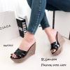 รองเท้าส้นเตารีดหนังเงา Style YSL (สีดำ)