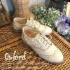 พร้อมส่ง : รองเท้า Oxford ผ้าลูกไม้ (สีครีม)