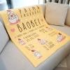 ผ้าห่มเด็ก ใส่ประวัติแรกเกิด ลายกุ๊กไก่ สีเหลือง / Kook Kai - Yellow