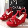 พร้อมส่ง : รองเท้าส้นเตารีดเกาหลี (สีแดง)