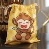 ถุงผ้าซาติน ลายลิงสีเหลือง - Monkey - Yellow