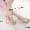 รองเท้าส้นเตารีดหนังแก้ว Style YSL (สีชมพู)