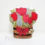 ของขวัญวันเกิด - หมอนกระถางไม้พร้อมทิวลิปสีแดง Happy Birthday Tulip Wooden Bucket with Red Bow